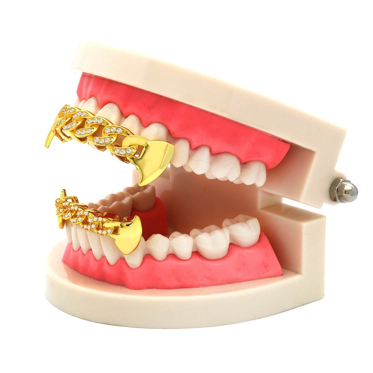 GRILLZ SET GOLD CUBAN FANG CZ