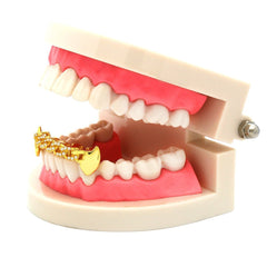 GOLD BOTTOM GRILLZ CZ CUBAN FANG