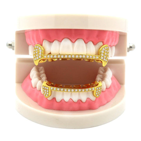 Gold Plated Full CZ Half Fang Best Grillz Set.