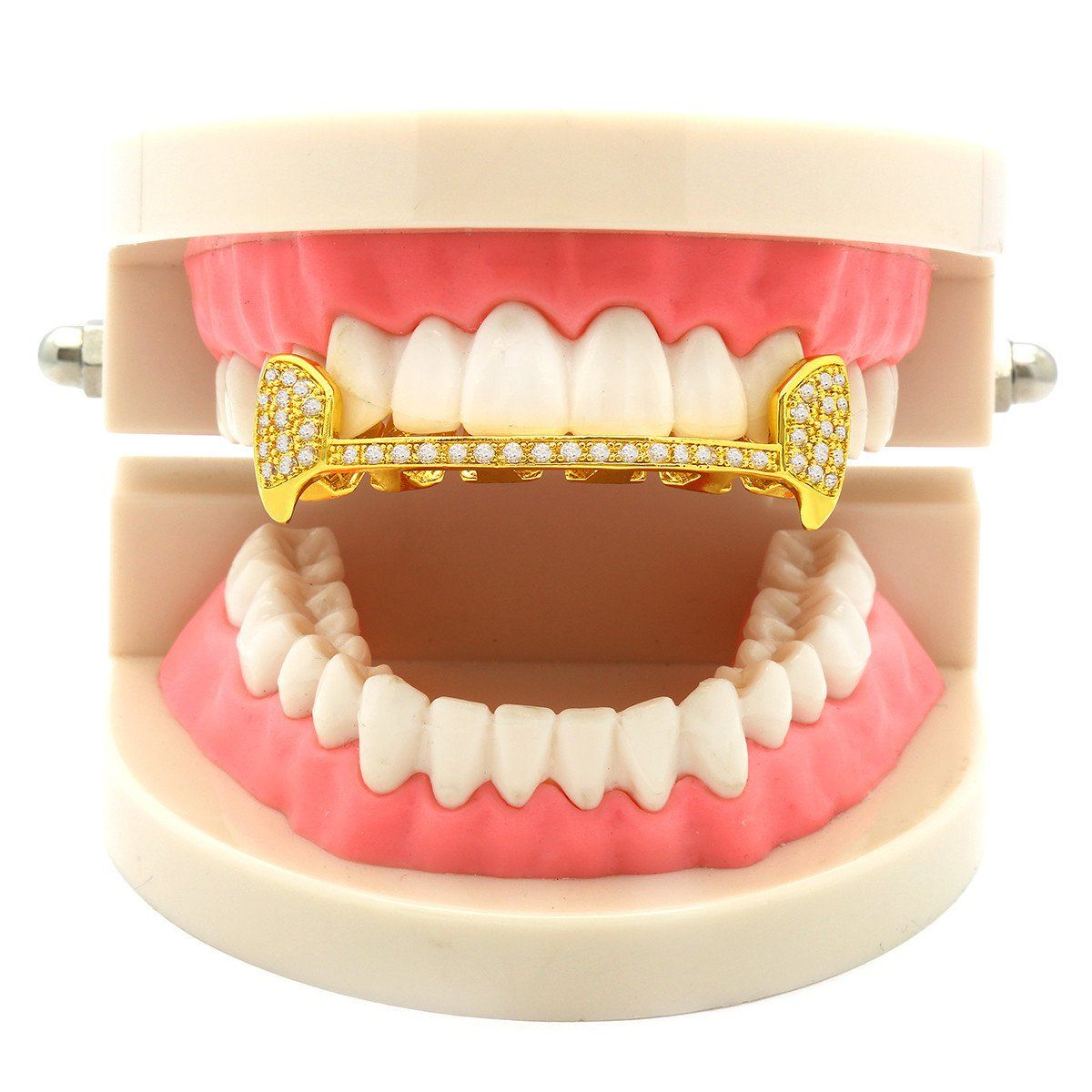 GOLD TOP GRILLZ SLIM HALF CZ FANG