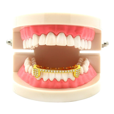 GOLD BOTTOM GRILLZ CZ HALF SLIM FANG