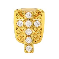 GOLD GRILLZ SINGLE TOOTH CZ CROSS
