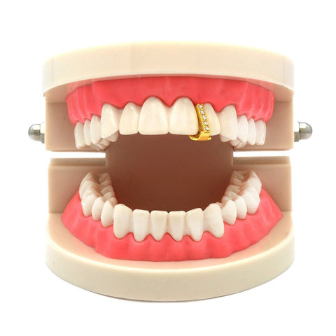 GOLD GRILLZ SINGLE TOOTH CZ GAP
