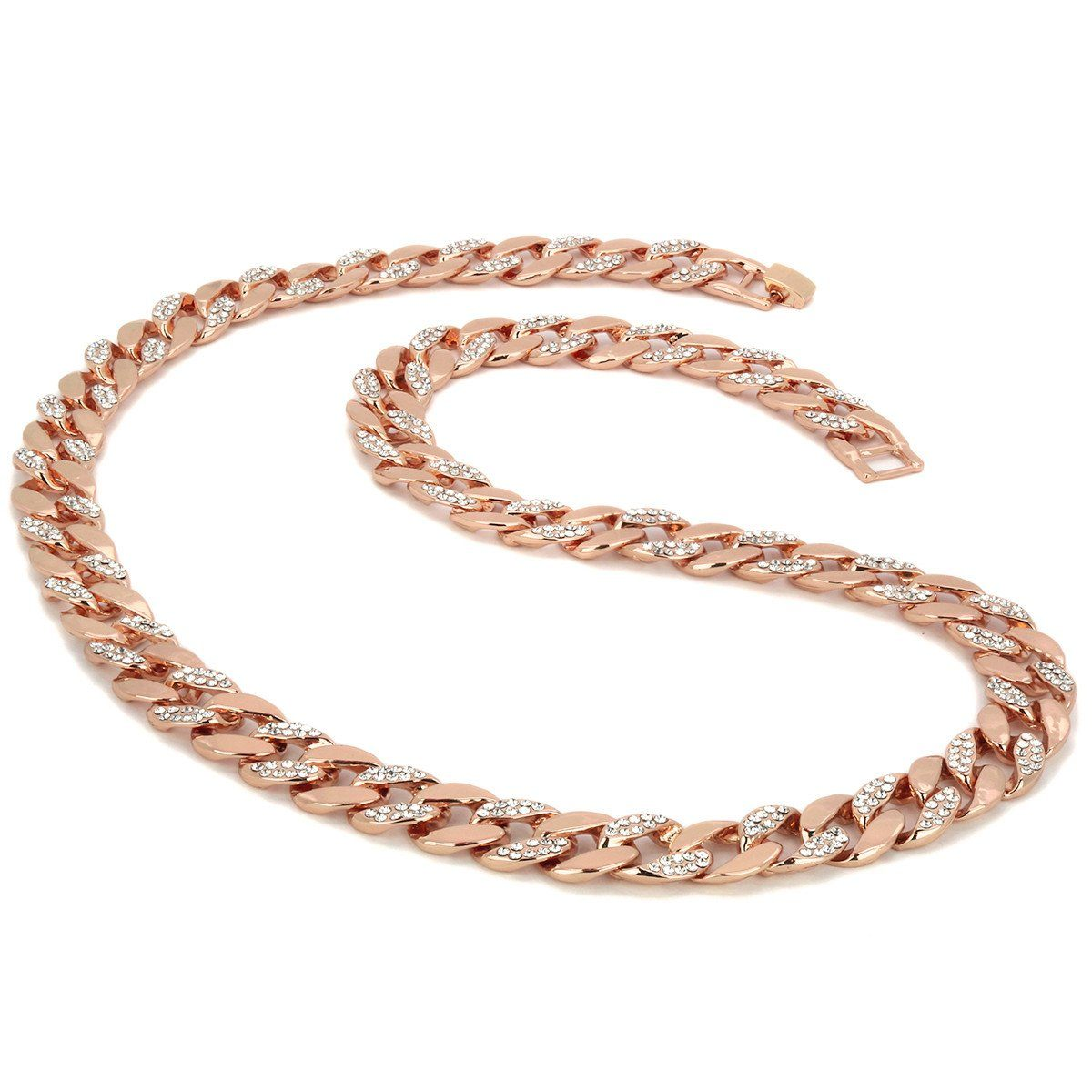 "Rose Gold Plated Cuban Half Cz Chain Necklace 15mm 30"" Inches"