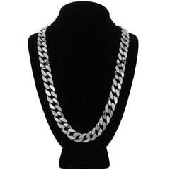 "Silver Plated Cuban Half Cz Chain Necklace 15mm 30"" Inches"