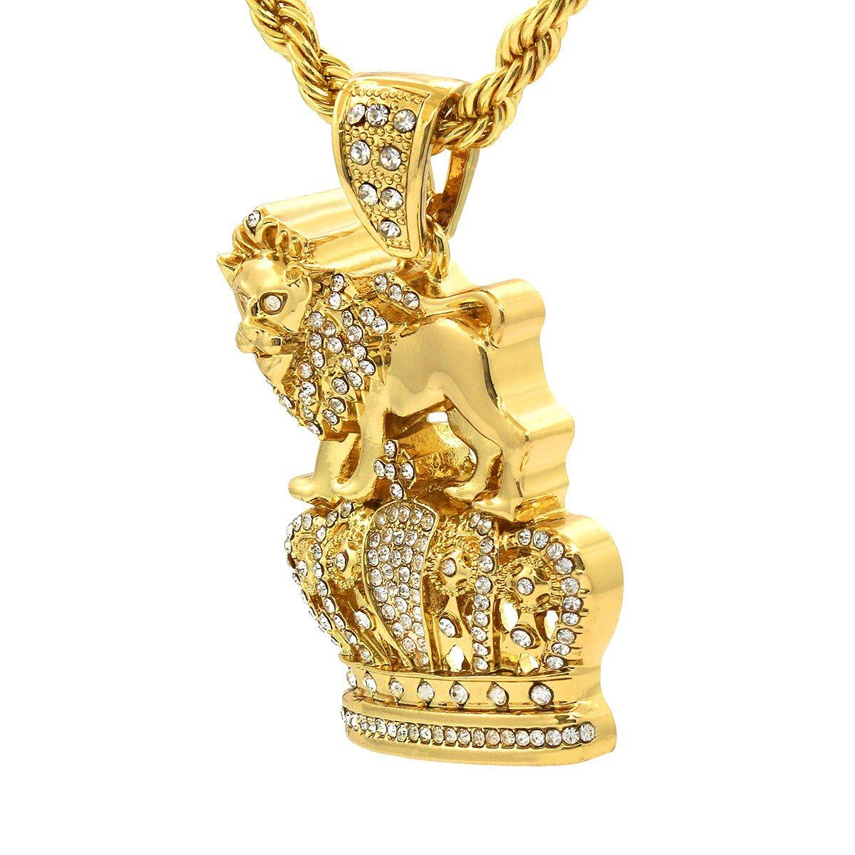 Gold Filled Royal Lion Crown Pendant with Rope Chain