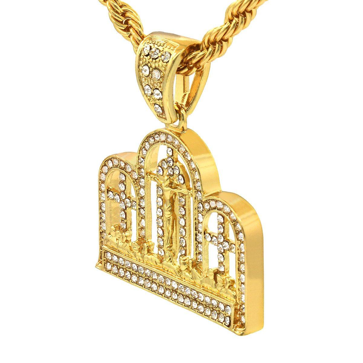 Gold Filled Last Supper Pendant with Rope Chain