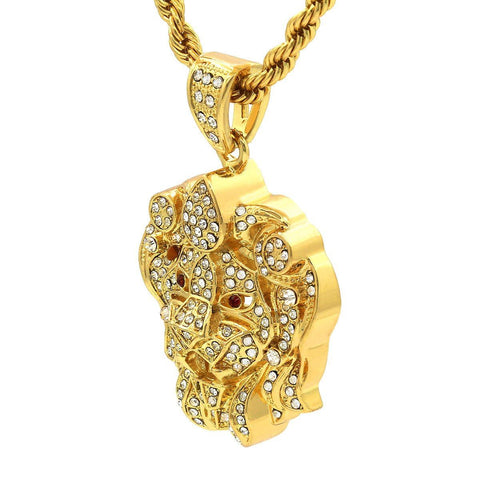 Gold Filled Lion Face Pendant with Rope Chain