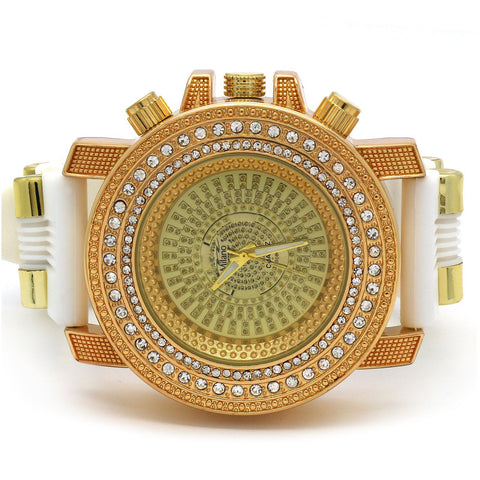 Gold Ice Out Milano White Silicone Band Watch