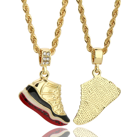 "11 Retro Bred Shoe 14k Gold Pendant 20"" Inch 4mm Rope Choker Chain"