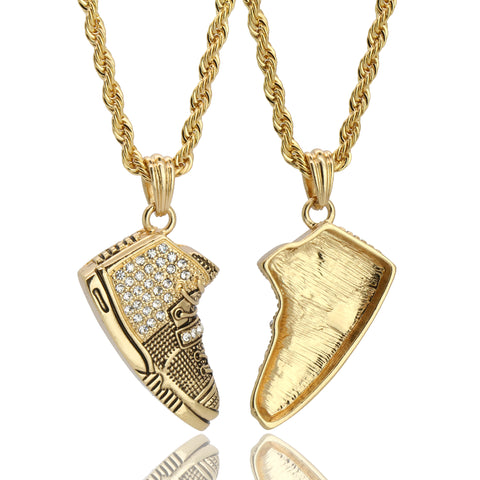 "Shoe Iced Out 14k Gold Pendant 20"" Inch 4mm Rope Choker Chain"