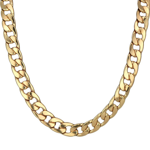 Gold Plain Cuban 16 mm 30""