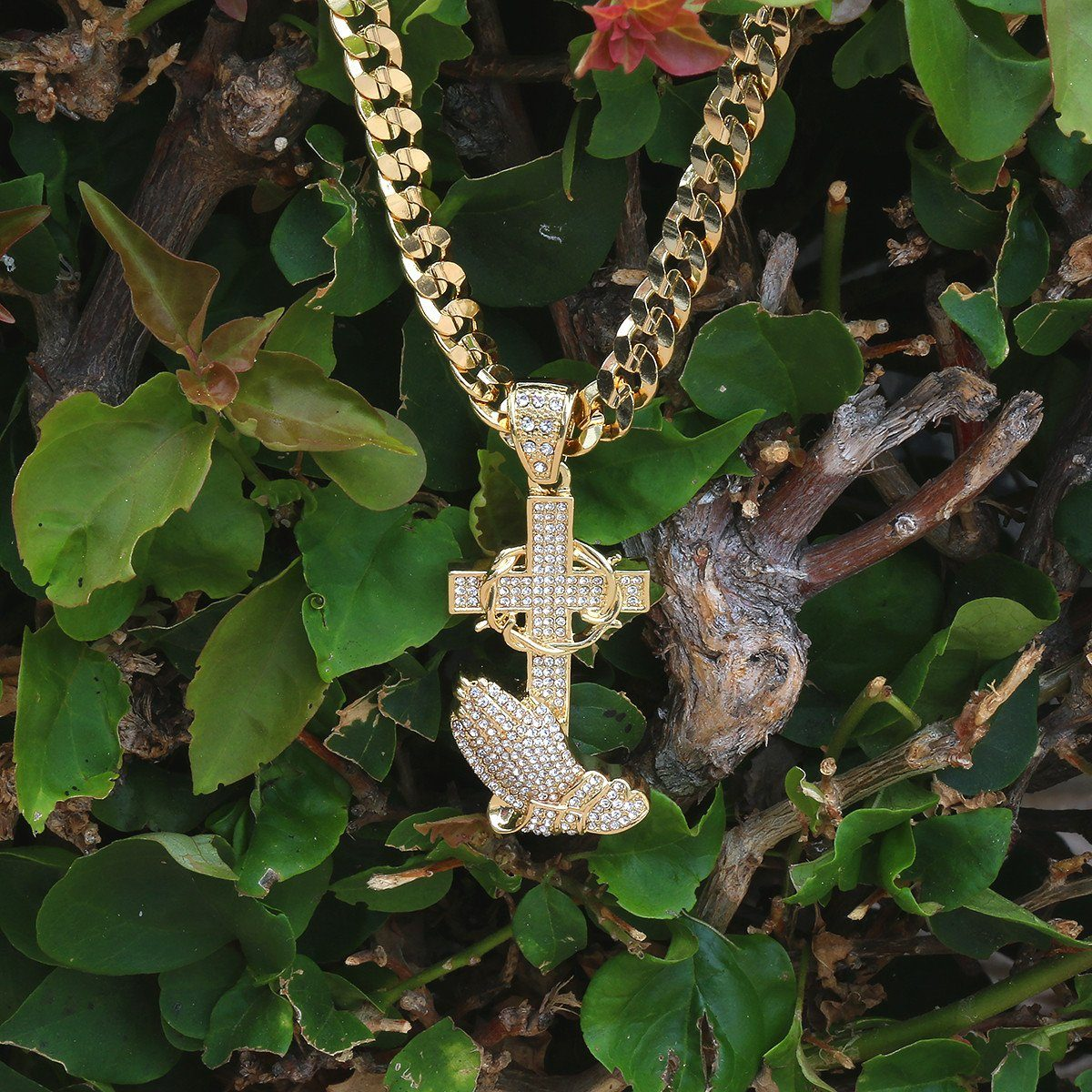 Gold Filled prayer Cross Pendant with Cuban Chain
