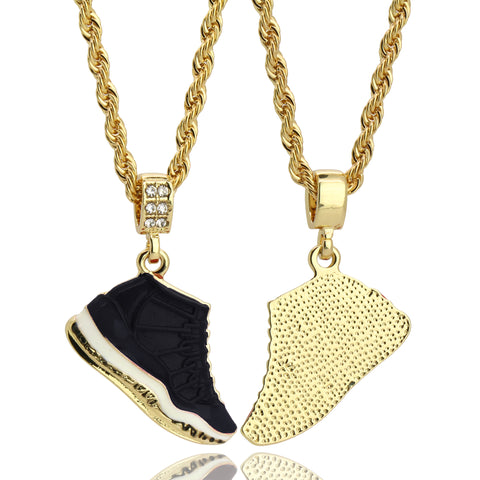 "11 Retro ""Space Jams"" Shoe 14k Gold Pendant 20"" Inch 4mm Rope Choker Chain"