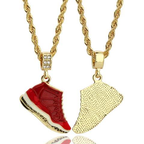 "11 Retro ""Gym Red"" Shoe 14k Gold Pendant 20"" Inch 4mm Rope Choker Chain"