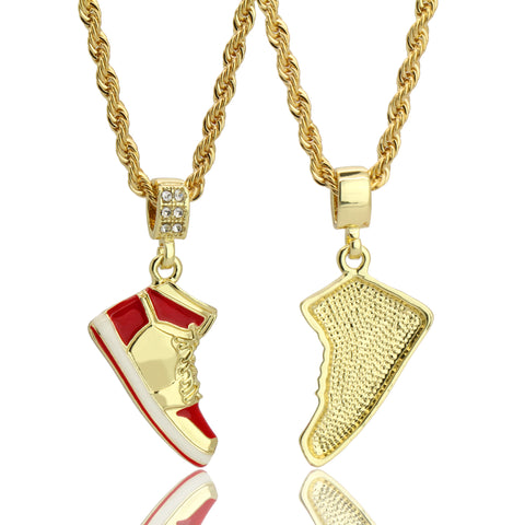 "Retro 1 "" Red "" Shoe 14k Gold Pendant 20"" Inch 4mm Rope Choker Chain"