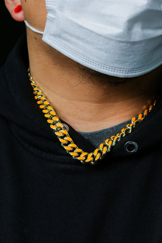 Gold Miami Orange Thick Cuban Link Choker Chain Hip Hop Style