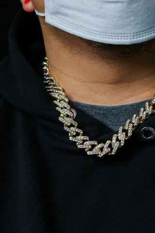 Mens Iced Out Lab Diamond Zig Zag Cuban Choker Style Bling AAA Lab Diamond Hip Hop Chain Necklace