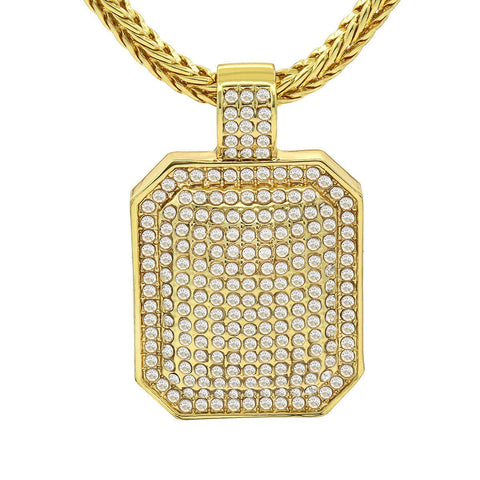Gold Filled CZ Dog Tag Pendant with Franco Chain