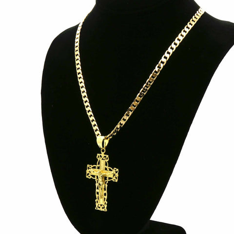 WIRED EDGE CROSS CRUCIFIX PENDANT