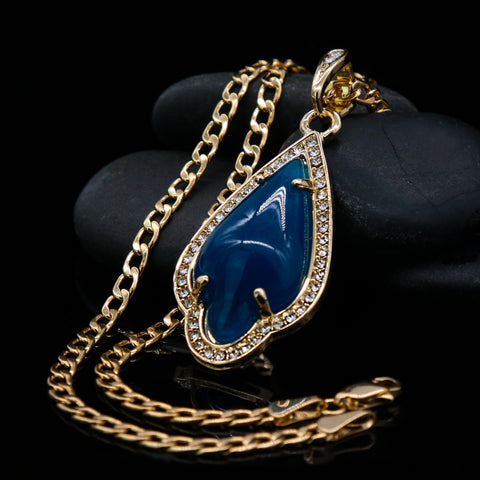 Blue Curved Tear Women's Jade Chain Pendant Necklace