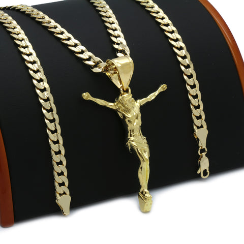 14K GOLD PLATED CRUCIFIX JESUS PENDANT/CHAIN