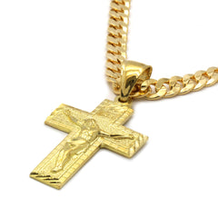 14K GOLD PLATED SMALL ETCHED CROSS PENDANT/CHAIN