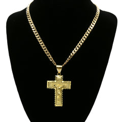 14K GOLD PLATED LARGE ETCHED CROSS PENDANT/CHAIN