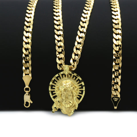 14K GOLD PLATED SM. JESUS W/ CROWN PENDANT/CHAIN