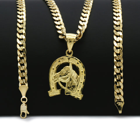 14K GOLD PLATED HORSE SHOE PENDANT/CHAIN