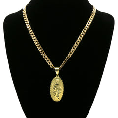 14K GOLD PLATED OVAL VIRGIN GUADALUPE PENDANT/CHAIN