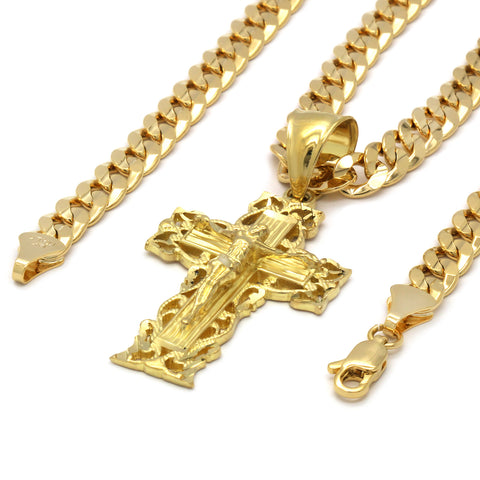 14K GOLD PLATED BRANCH CROSS PENDANT/CHAIN