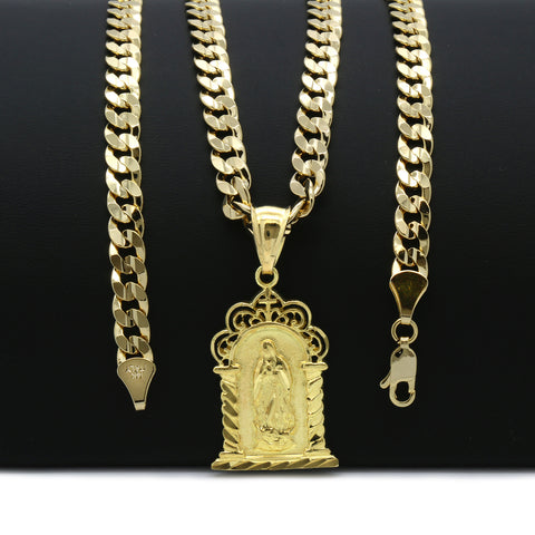 14K GOLD GUADALUPE SHRINE PENDANT/CHAIN