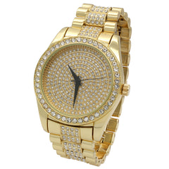 Gold Fully Ice Out Techno Rolex Style Watch