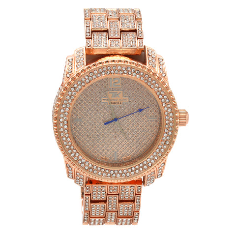 Rose Gold Fully Ice Out Techno King Watch