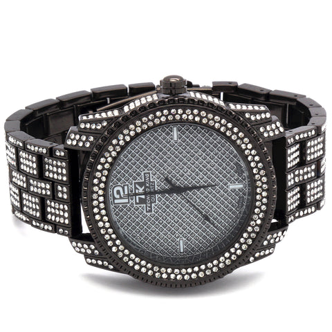 Gun Metal Fully Ice Out Techno King Watch