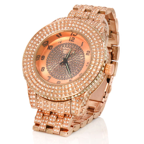 SST1 Rose Gold Iced Out / Quartz Techno KING Watch