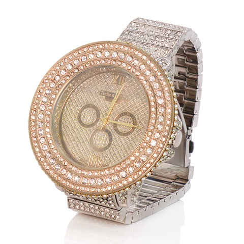 3 Rings Gold/Silver Ice Out Techno KING Watch