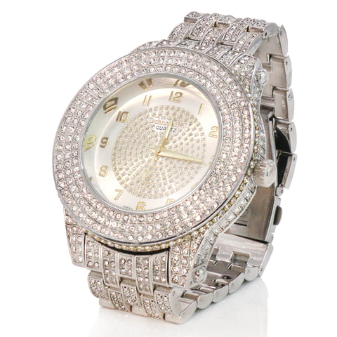 SST1 White Gold Iced Out / Quartz Techno KING Watch