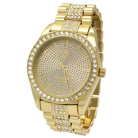 Gold Fully Ice Out Stardust Techno Pave Watch