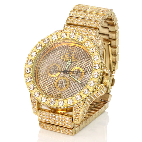 3 Rings Gold Ice Out Techno KING Watch Big Cz