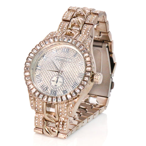 Xll Diamond Cut Ice Out White Gold Techno KING Watch Big Cz