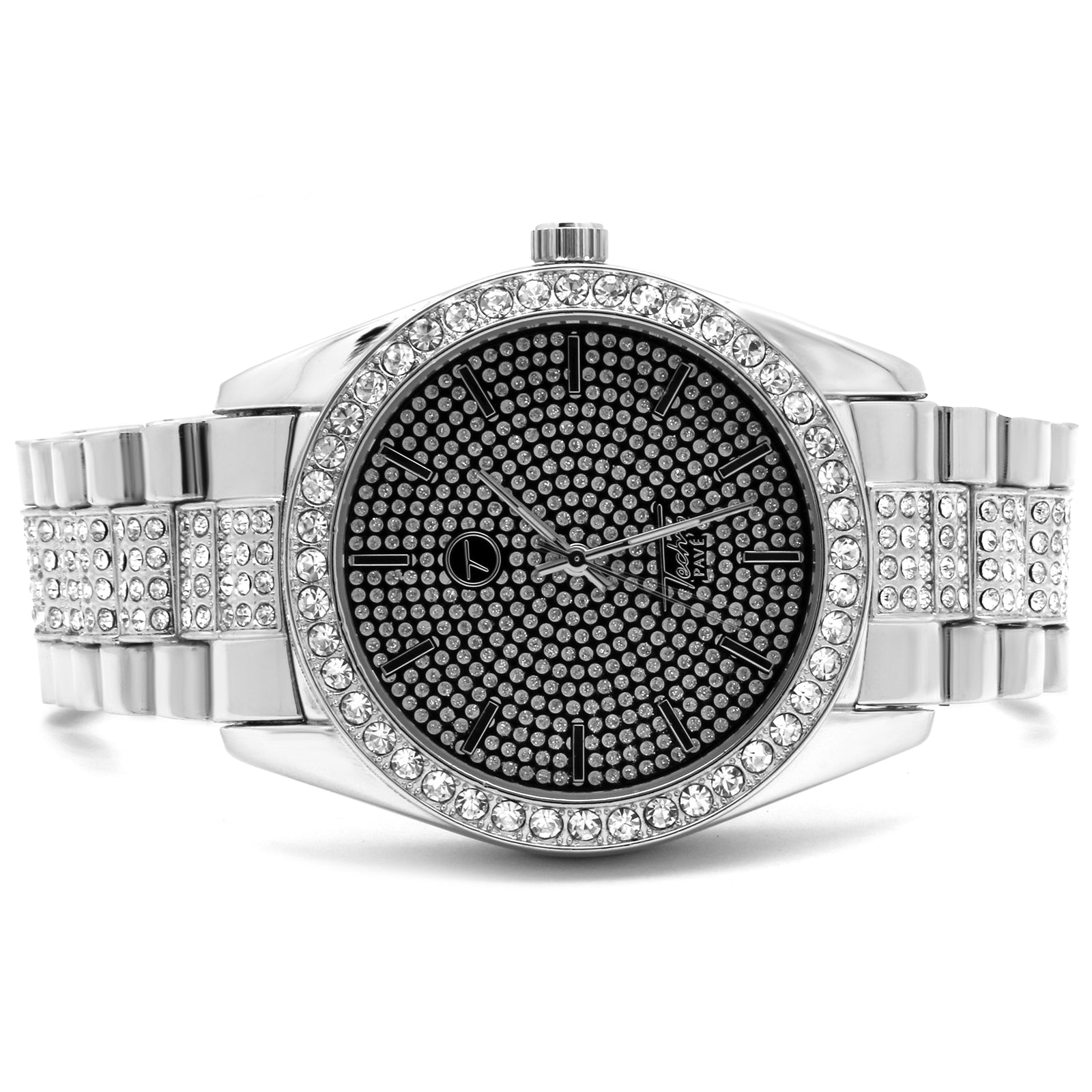 Silver Ice Out Techno Pave Rolex Style Watch