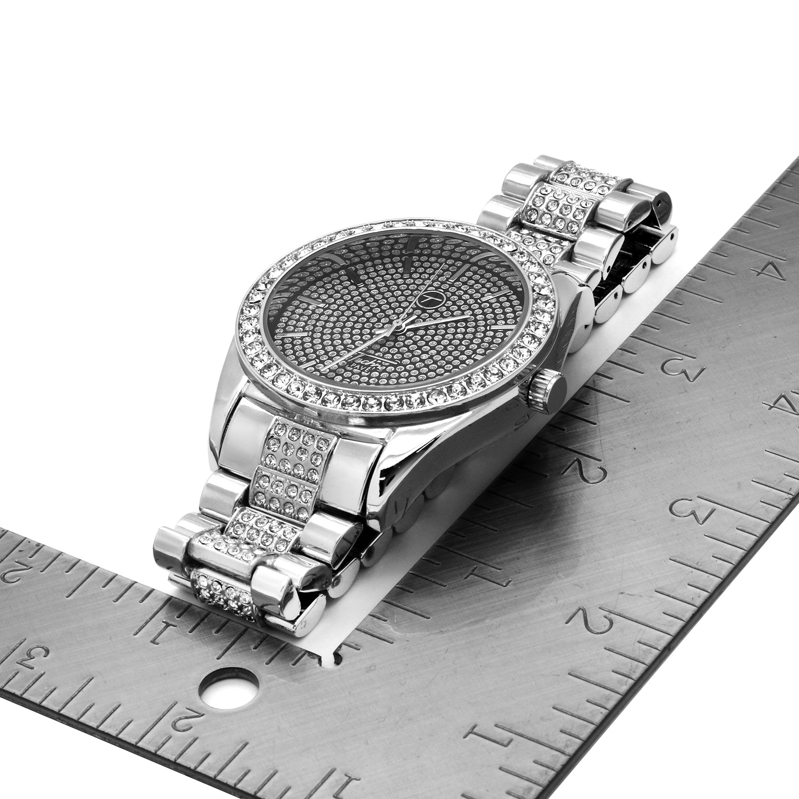 White Gold Plated Metal Fully Iced Out Techno Rolex Style Watch Techno Pave