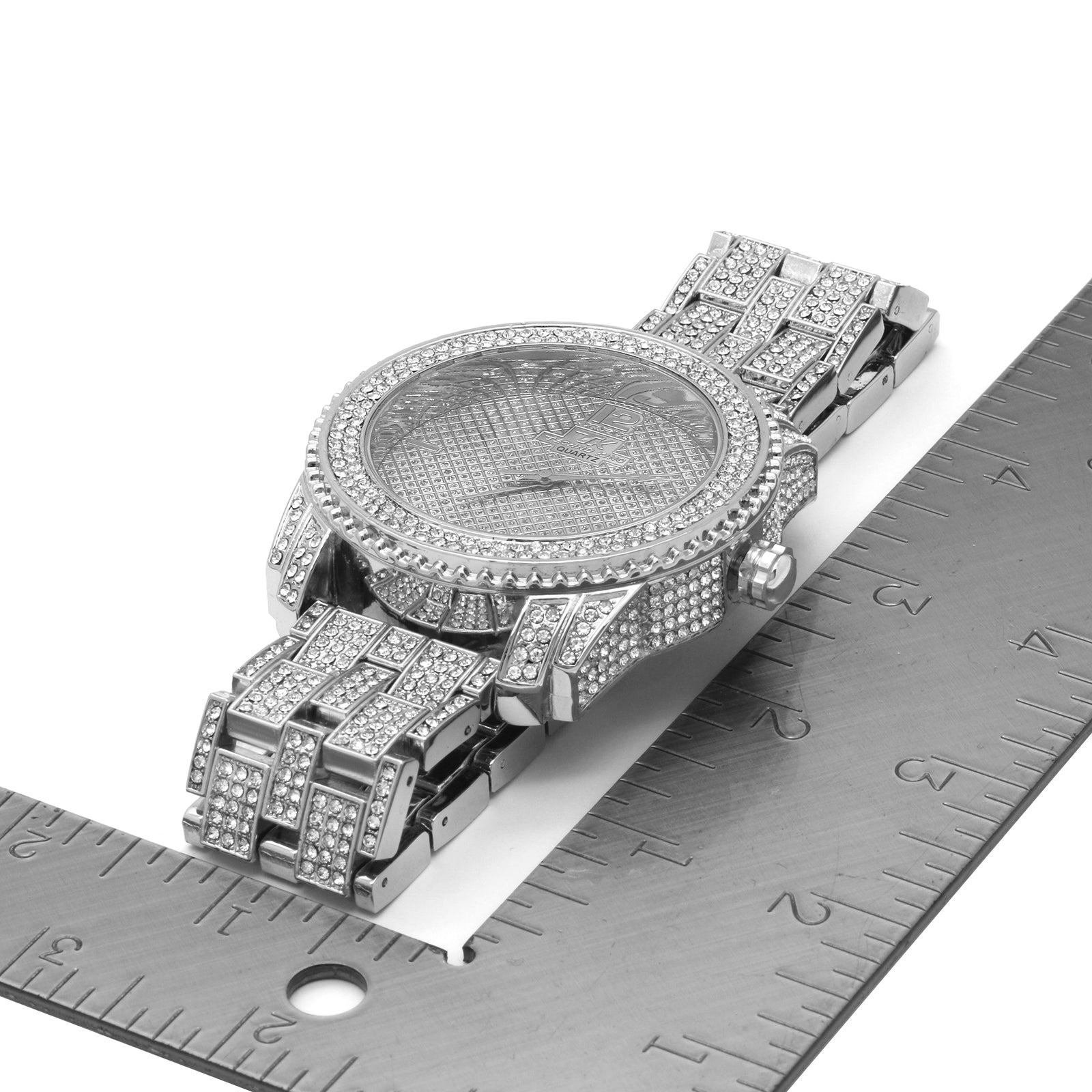 Silver Fully Ice Out Techno King Rolex Style Watch