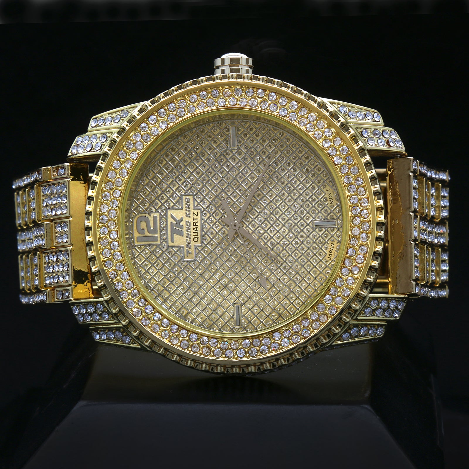 Gold Fully Ice Out Techno King Rolex Style Watch