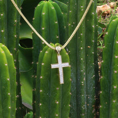 14k Gold Filled Stardust Cross Pendant with Franco Chain