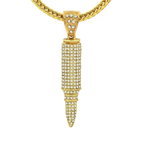 14k Gold Filled Bullet Pendant with Franco Chain