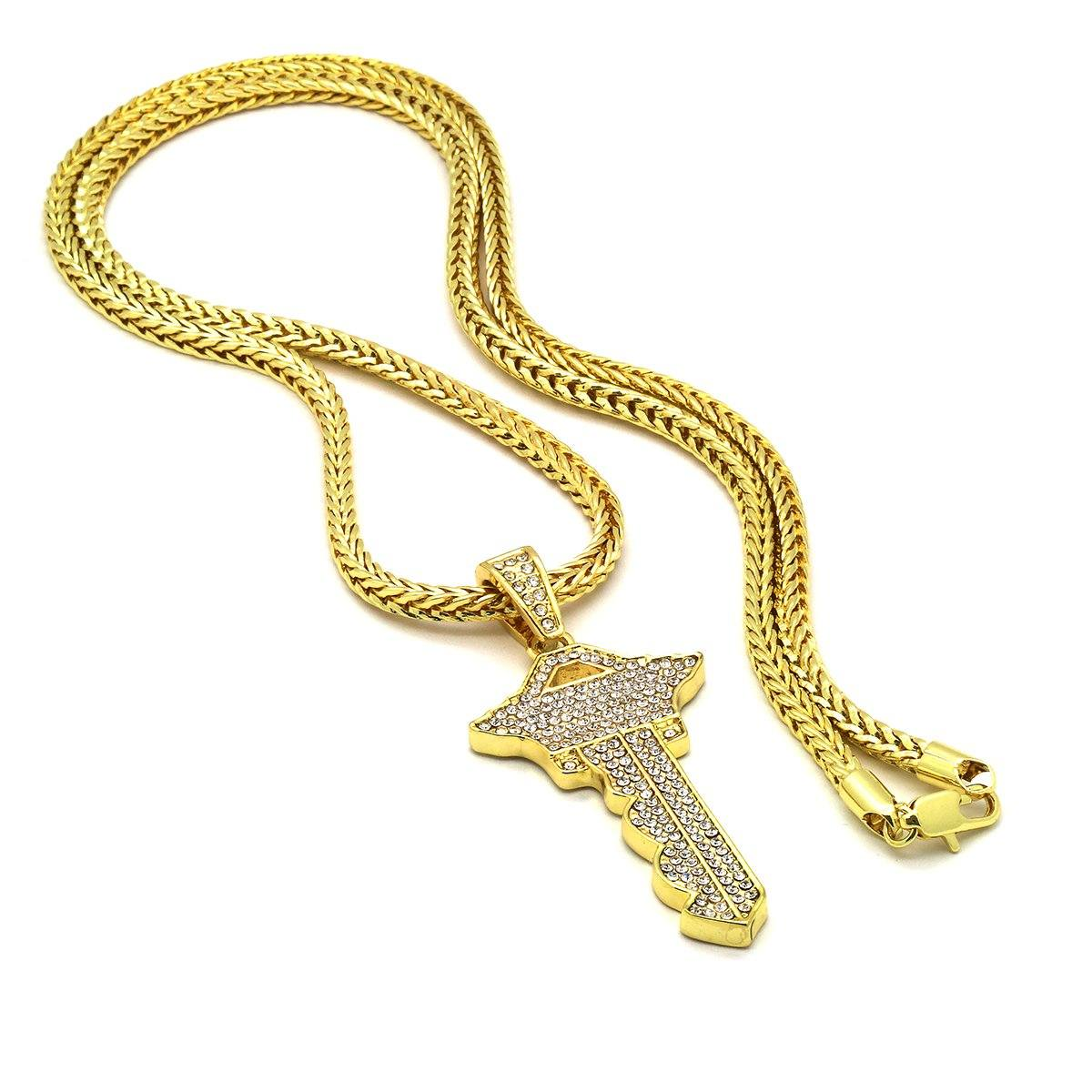 Gold Filled Key Pendant with Franco Chain