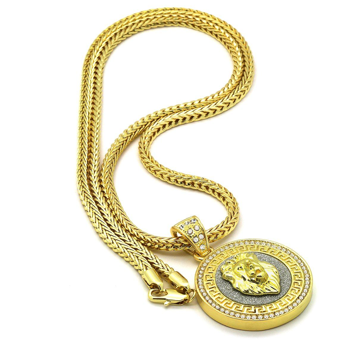 Gold Filled Lion Pendant with Franco Chain